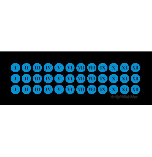 Fluoro Roman Numerals - Fluoro Blue
