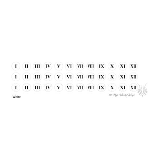 Roman Numerals - Peel & Stick - White
